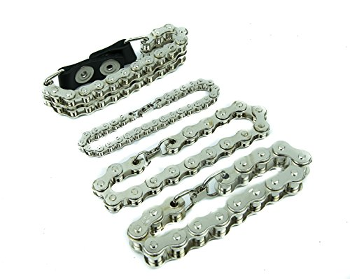 Female Biker Costumes - Heavy-duty Silver Steel Men's Bike Chain Bracelet Jewelry for Man or Women (17mm)