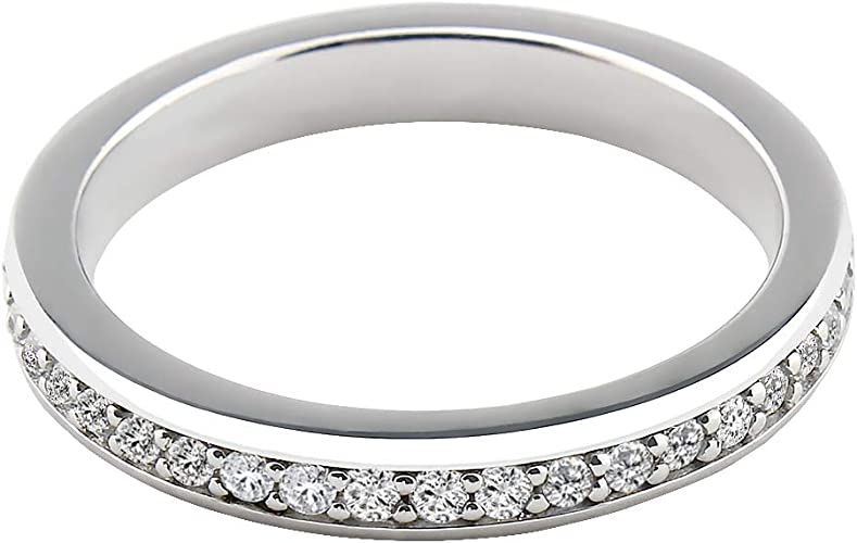Round Band Ring Sterling Silver 925 Polish Rhodium Plated Thickness 2 mm Size 6