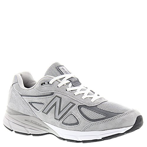 Mesh Grey White Leather - New Balance Men's 990v4, Grey/White, 10 6E US