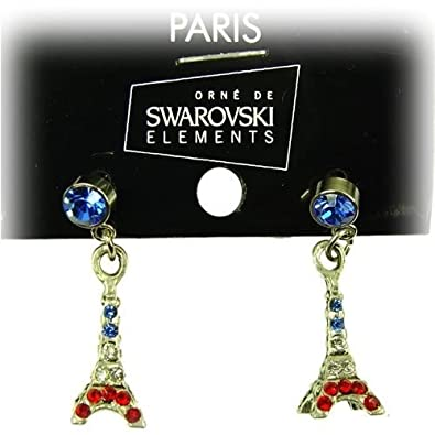 Souvenirs of France - Paris Earrings with Eiffel Tower and Swarovski Crystal 3385ef27f5d1