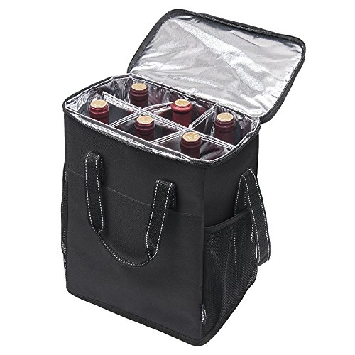 6 Bottle Wine Carrier - Insulated & Padded Wine Carrying Cooler Tote Bag with Handle and Adjustable Shoulder Strap for Travel or Picnic, IDEAL Wine Lover Gift, Black