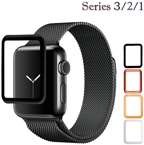 Josi Minea iWatch 3/2/1 [42mm] 3D Curved Tempered Glass Screen Protector with Edge to Edge Coverage - Thin Anti-Scratch HD Cover Shield Compatible with Apple Watch Series 3, 2 & 1 [ 42mm - Black ]