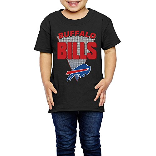 AK79 Children 2-6 Years Old Boys And Girls Buffalo Logo Bills T-shirt Black Size 4 Toddler