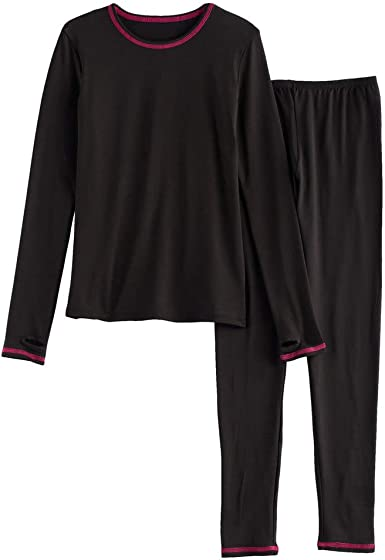 Amazon.com: Girls Winter Base-Layer Thermal Underwear top and Bottom Set  with Thumbhole: Clothing