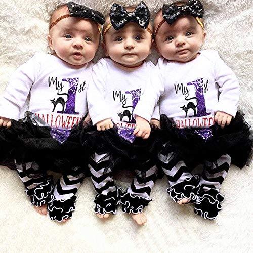 MOKO-PP 4PCS Infant Baby Girl Letter Romper+Leg Warmers+Headband+Tutu Skirt Outfit Set(white,90) -