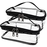 TePiLl Hanging Toiletries Bag Kit Clear PVC Travel Bathroom Brush Comestic Storage Pouch for Camping, Hotel, Airline, Car Use(2 Pack)