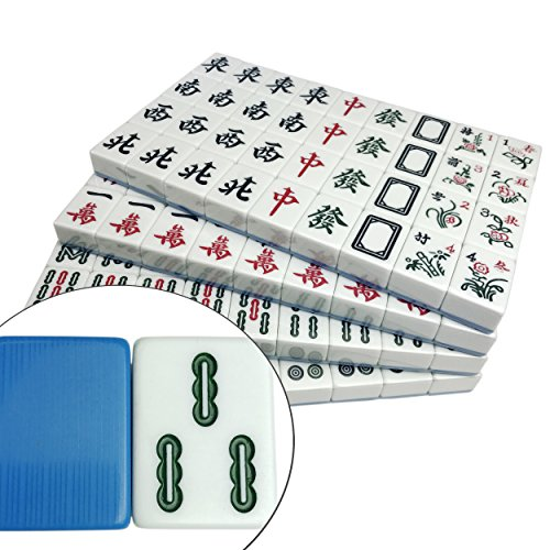 Blue Mahjong (Traditional Chinese Mahjong Blue Melamine Texture, 144 Tiles ONLY, 42mm X-Large)