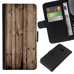 YiPhone /// Tirón de la caja Cartera de cuero con ranuras para tarjetas - Madera Retro - HTC One M7