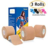 poshei Kinesiology Tape Precut (3 Rolls pack), Elastic Therapeutic Sports Tape - Pain Relief Adhesive Shoulder Knee Elbow Ankle, Waterproof, Breathable, Latex free, 2'' x 16.5 feet Per Roll