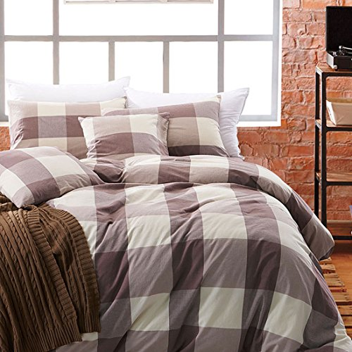 Perfect 80%OFF Libaoge 4 Piece Bed Sheets Set, Green Grey White Checkered Print,