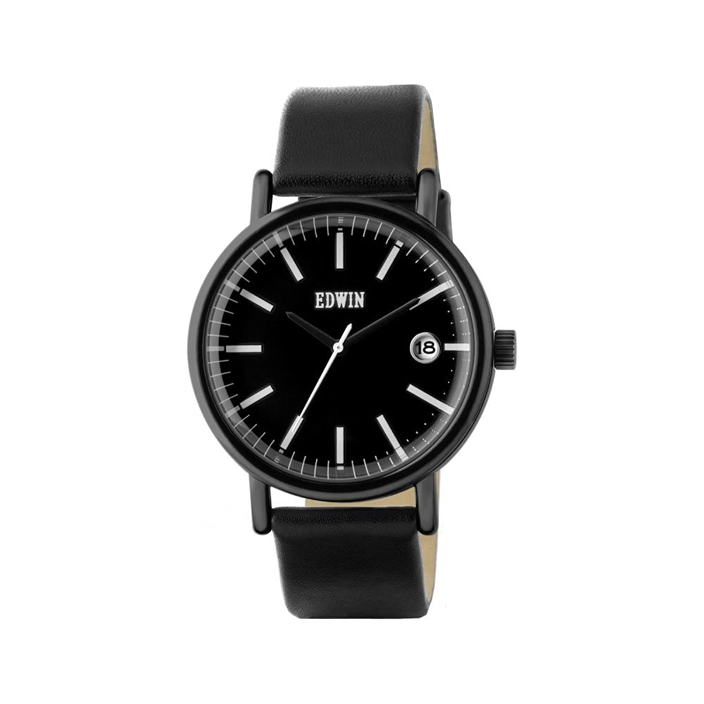 Edwin ew1g001l0044 Edelstahl schwarz Leder Band Schwarz Zifferblatt Armbanduhr