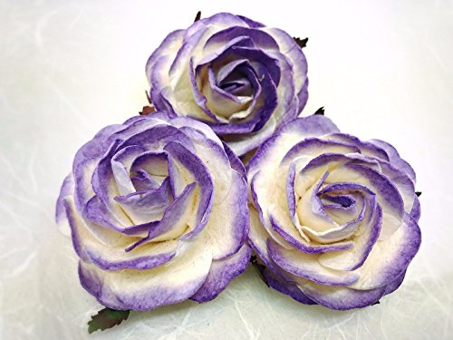 JN Siam789 white lavender purple 3 pcs. 2.5 inches large mulberry roses - paper flowers (Lavender Mulberry Paper)