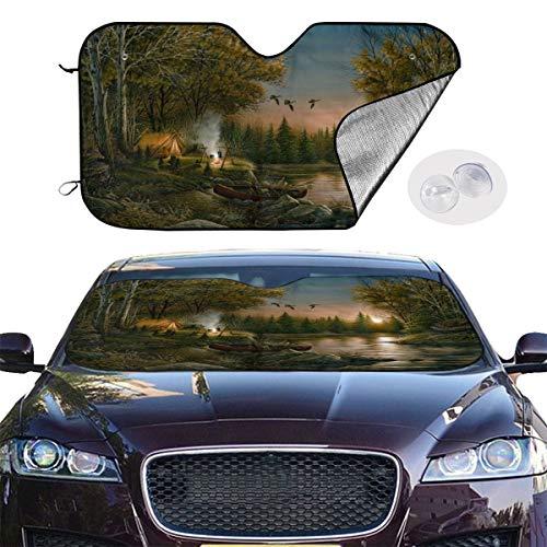 YVONNE WIDLAN Windshield Sun Shade Evening Solitude Car Windshield, Sun Shade to Keep Vehicle Cool Protect Your Car from Sun Heat & Glare Best UV Ray Visor Protector (Size: 51