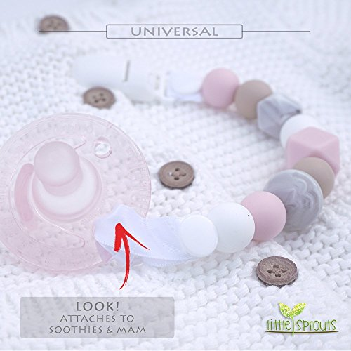Pacifier Clip - 2 in 1 - Modern and Trendy - Teething Silicone Beads with Unique Shapes - Best for Teether Toys, Stuffed Animals, Soothie/MAM, Infant Blankets & Drool Bibs - Girl's Binky Holder by Little Sprouts (Image #2)