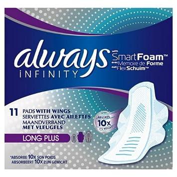 always infinity long plus sanitary towels with wings 11 per pack