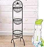 Gift Included- Decorative Stars & Berries Country Style Kitchen Decor Organizers + FREE Bonus Water Bottle by Homecricket (Triple Fruit Basket Organizer)