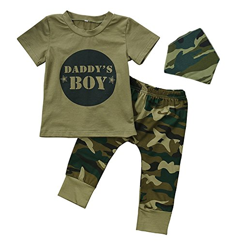 Daddy's Baby Girls Baby Boys Camo Clothes 3 Sets Infant/Toddler Camouflage Outfits T-Shirt Tops+Pants+Headband/Bibs