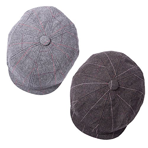 2 Pack of Men's Classic 8 Panel Wool Blend Applejack Newsboy Snap Brim Collection Ivy - Gatsby Collection