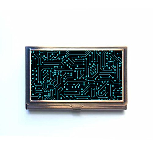- Computer Circuit Board Custom Business Bank Name Card Case Holder Bronze Box Pocket Credit Card ID Wallet