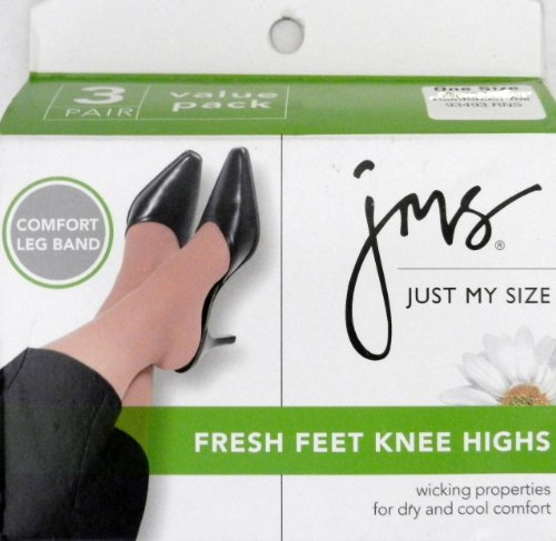JMS (Just My Size) Fresh Feet Knee Highs - 3 Pair Value Pack - One Size, Reinforced Toe, Nude (Just My Size Trouser Socks)