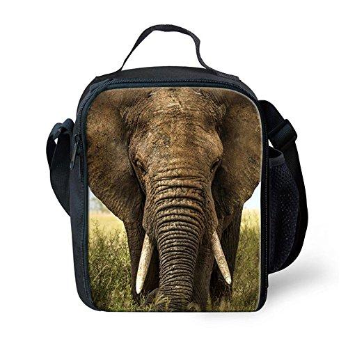HUGSIDEA Fashion Animal Elephant Print Lunch Bags for Adults Kids Food Box
