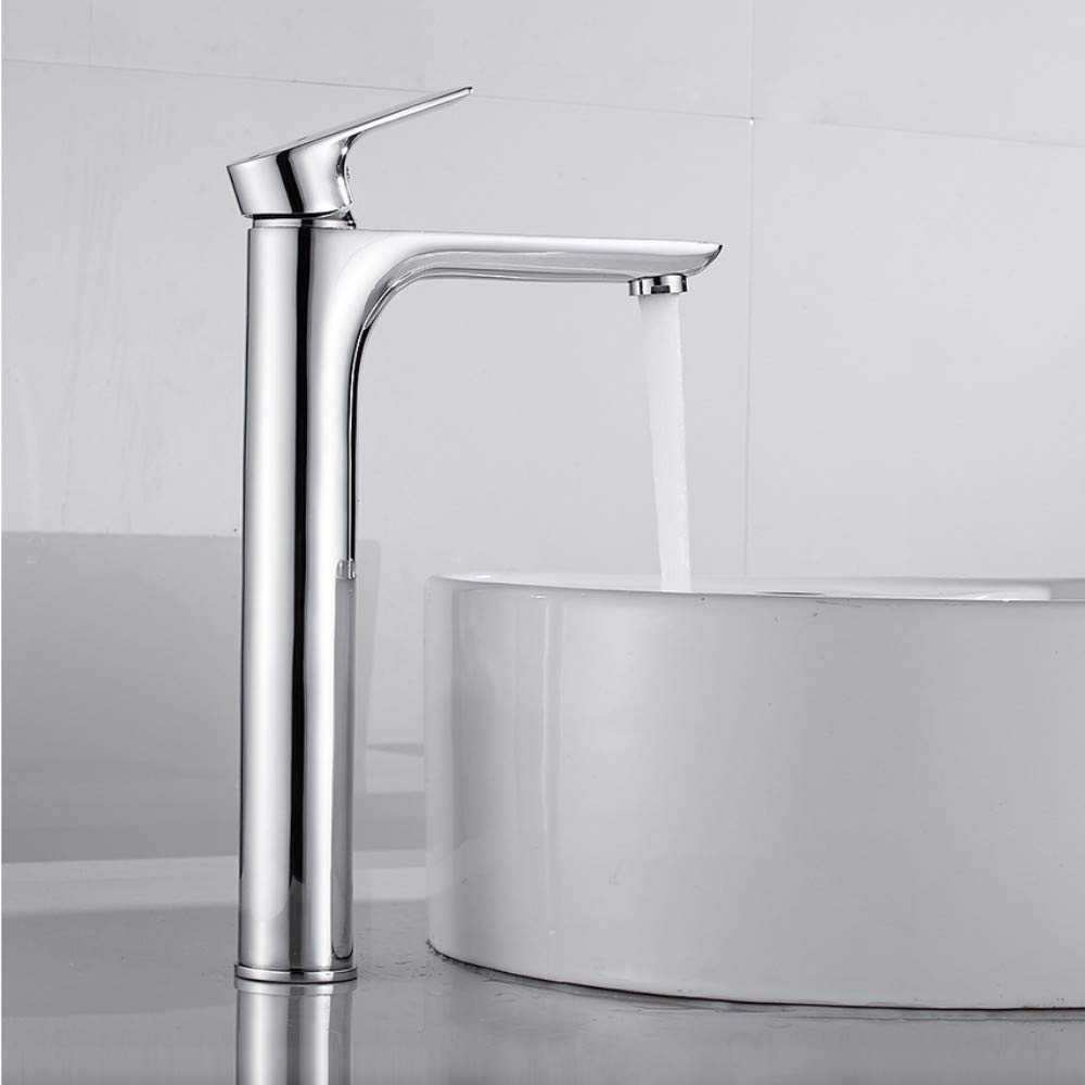 Lddpl Tall Basin Faucet Modern Counter Top Basin Mixer Taps Bathroom Sink Tall Chrome Faucet Deck Mounted Single Hole Waterfall