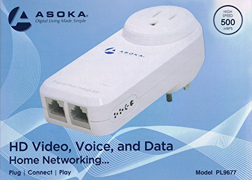 Asoka PlugLink ETH-500 Mbps 2-Port HomePlug Powerline Ethernet Adapter - 9677 with Home Plug Passthrough by Asoka