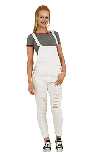 a3a62ef7eb White Distressed Denim Dungarees - Skinny Fit Ladies Bib Overalls Rips  Abrasions PAIGEWHITE-S-8  Amazon.co.uk  Clothing