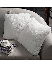 NordECO HOME Pluizige kussenhoezen van imitatiebont, sierkussenhoes, zachte vierkante decoratieve kussenslopen, knuffelkussens, voor de slaapbank, slaapkamer, woonkamer, 45 x 45 cm, 48 x 45,7 cm, set van 2, wit
