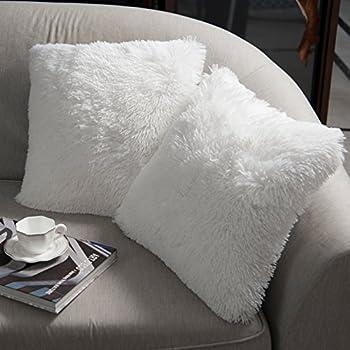 NordECO HOME Luxury Soft Faux Fur Fleece Cushion Cover Pillowcase Decorative Throw Pillows Covers, No Pillow Insert, 18