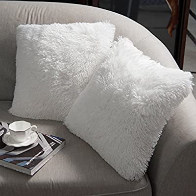 """NordECO HOME Luxury Soft Faux Fur Fleece Cushion Cover Pillowcase Decorative Throw Pillows Covers, No Pillow Insert, 18"""" x 18"""" Inch, White, 2 Pack - NordECO extra long faux fur creates elegant look, is ideal for your couch, sofa, bed, office chair and car. Made of polyster with cozy hand feeling, super soft and environmentally friendly. The pillow cover is made with color matching invisible zipper that allows easy insertion and removal of pillow inserts - living-room-soft-furnishings, living-room, decorative-pillows - 51kZxN19L9L. SS400  -"""