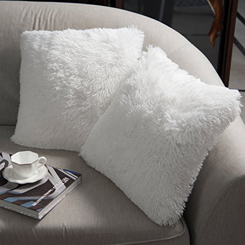 NordECO HOME Luxury Soft Faux Fur Fleece Cushion Cover Pillowcase Decorative Throw Pillows Covers, No Pillow Insert, 18