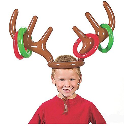Office Games For Christmas - DORABO Reindeer Antler Hat Christmas Party Toss Game Inflatable Reindeer Antler Hat with Rings Hoops Accessories for Christmas, Wedding, Birthday, Baby shower, Graduation, Halloween