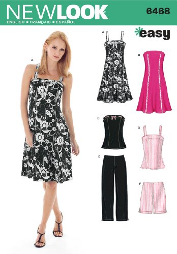 New Look Sewing Pattern 6468 Misses Separates, Size A (6-8-10-12-14-16) (Strapless Poplin)