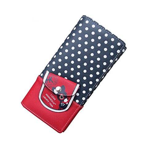 Moonwind Deer Polka Dot Long Leather Bifold Clutch Coin Wallet Women Phone Purse (HK5004-2, Button Bilold Wallet with Front Small Pocket (NO Wrist))