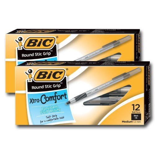 Bic Ultra Round Stic Grip Ball Point Pens, Medium Point, 1.2 mm, Black Ink (24 Pens)