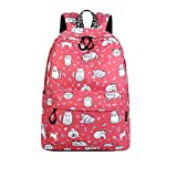 Waterproof Polyester Women Backpack Cute Cat Animal Pattern Printing Girls Daily Travel Knapsack Red 14 Inches