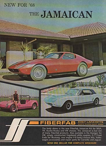 Magazine Print Ad: 1968 Fiberfab Jamaican kit car for MGA, TA, Austin  Healey, and VW Chassis