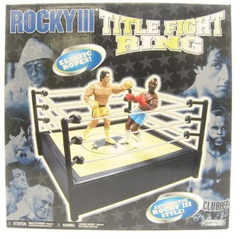 Rocky III Boxing Ring (Black and Yellow, White Ropes)
