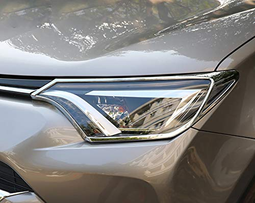 Kadore for Toyota RAV4 RAV-4 XLE LE 2016 2017 2018 ABS Chrome Front Headlight Lamps Cover Trim Bezels 2PCS/Set ()