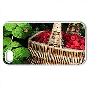 Basket of raspberries - Case Cover for iPhone 4 and 4s (Watercolor style, White)