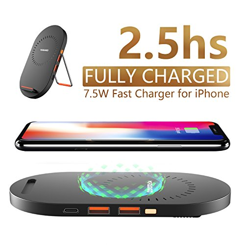 7.5 W Fast Wireless Charger iPhone X,Wofalodata Optimal 7.5W Charging for iPhone 8, iPhone 8 Plus, iPhone X—NO AC Adapter