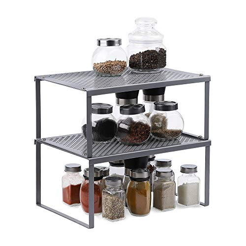 NEX 2-Pack Kitchen Cabinet And Counter Shelf Organizer, Expandable & Stackable, Sliver