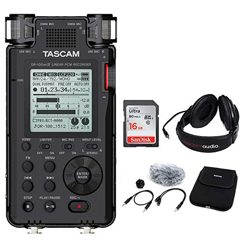 Tascam DR-100mkIII Linear PCM Recorder with Tascam Accessory Package, 16GB Memory Card & Stereo Headphones Bundle