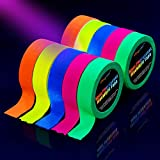 UV Blacklight Reactive Tape [10 Rolls], Fluorescent Neon Gaffer Tapes, 5 Colors, 0.6 Inch, 16.8 Foot Per Roll, For Black Light Party Supplies