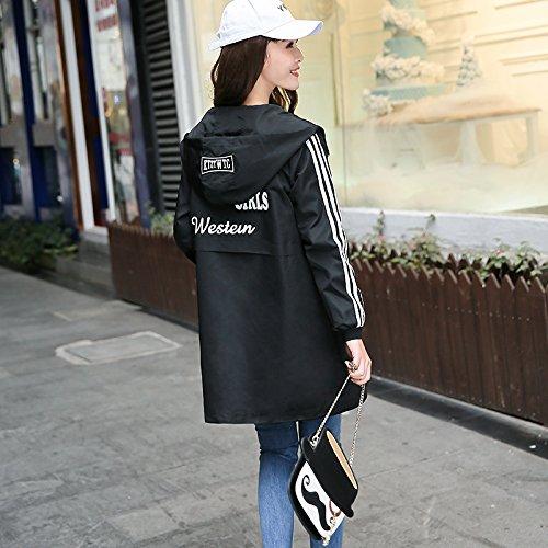 Ocio recta Mayihang Larga anorak femenino con de Camiseta Negro béisbol abrigo suelto uniforme Capucha wRqTFUw