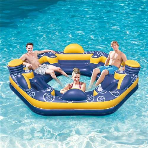 SUMMER WAVES Corona 6-Person Giant Inflatable Island Raft with Built-In Coolers & Cup Holders
