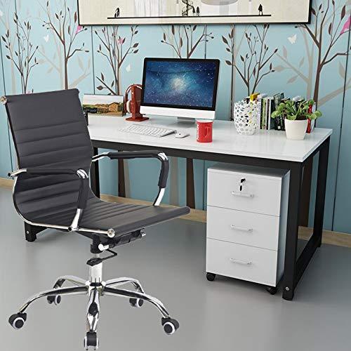 Svängbar stol låg rygg läder kontorsstol ergonomisk datorstol verkställande rullande konferensrum uppgift skrivbordsstol med bekvämt armstöd justerbar höjd 360 ° rotation, svart
