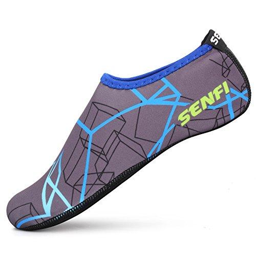 Senfi Unisex Waterhuidschoenen Blootsvoets Aquasokken Voor Zwembadwater Aerobicsoefening 02blue