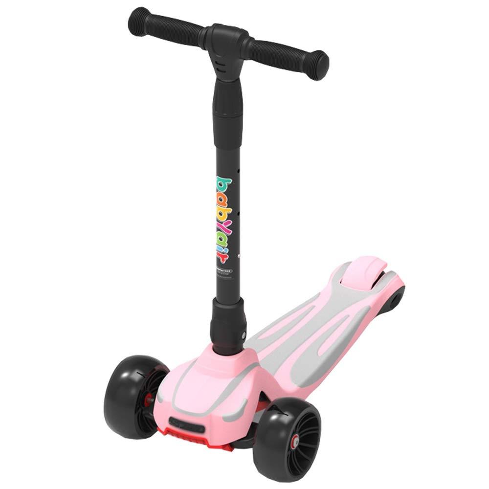 LJHBC Kickscooter Dreirad Verstellbare Höhe Kinder treten Roller LED-Blitz Geeignet für 3-8 Jahre Rutschfeste, Weißhe Gummioberfläche Lagergewicht 80kg Rosa
